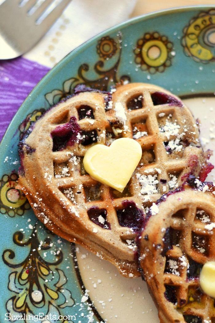 Heart-Shaped Whole Wheat Cinnamon Blueberry Waffles Recipe. Perfect Spring breakfast idea! #ad #buttermeup