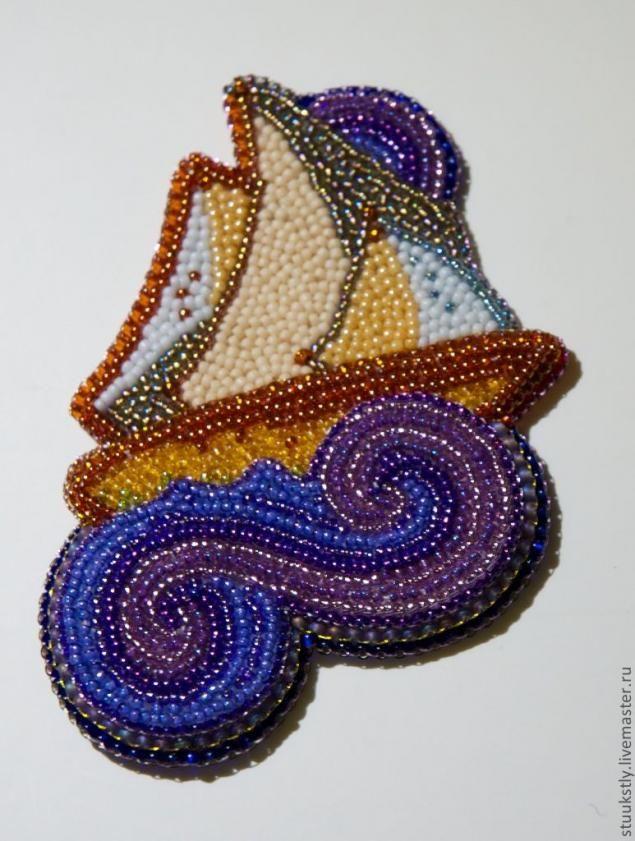 """Кулон из бисера и ракушек """"Кораблик"""". Часть 1 - Ярмарка Мастеров - ручная работа, handmade"""