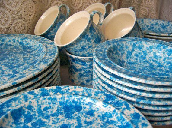Vintage Dinnerware Set Splatter Blue Homer by cynthiasattic, $750.00