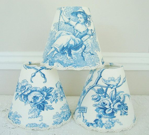 Chandelier Lampshade Blue Toile De Jouy Fabric Clip On For