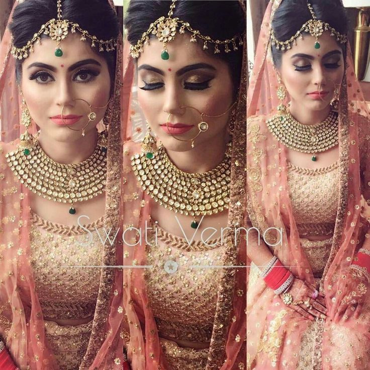 Royal bridal look!! Kundhan set necklace and earring with matching hair accessory!!