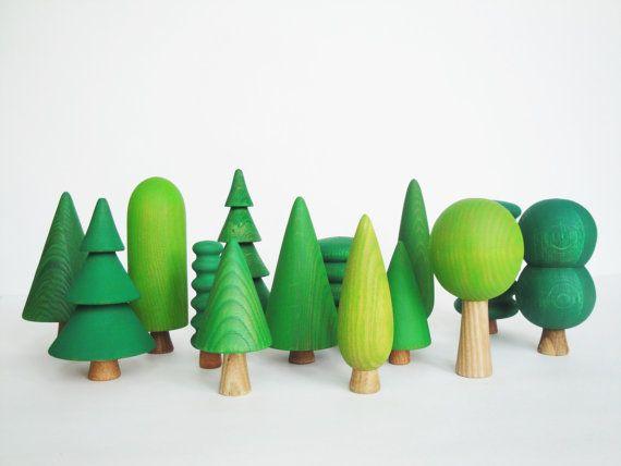 Woodland Tree Set 14 pcs Wooden Tree by WoodenCaterpillar on Etsy