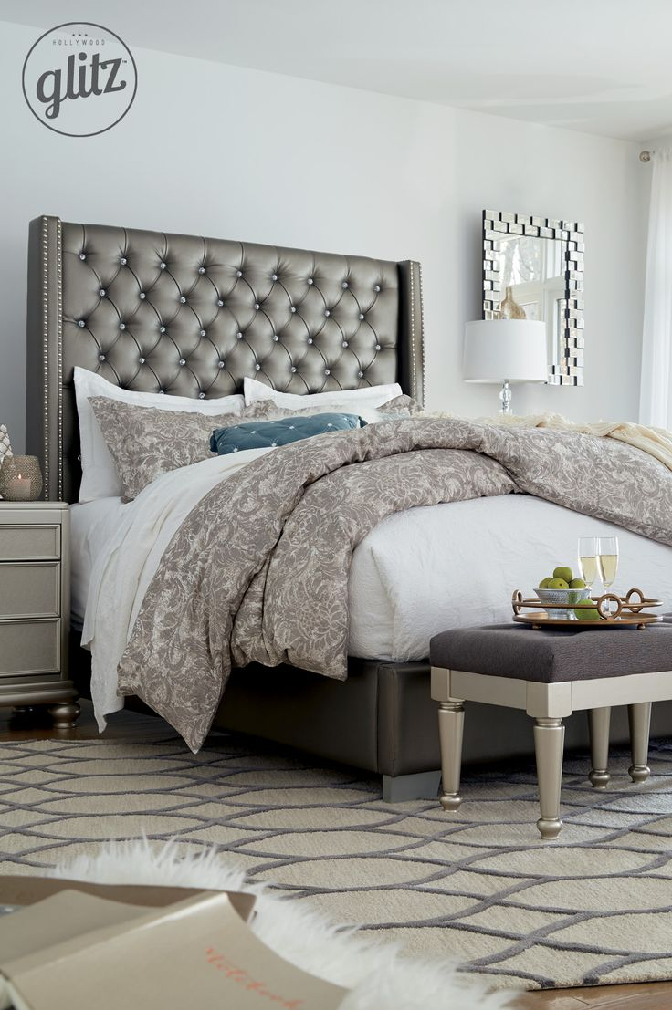 The neutral gray goes great with silver/metallic accessories and cozy white  and gray bedding! The perfect glamorous look for the bedroom! Hollywood ...
