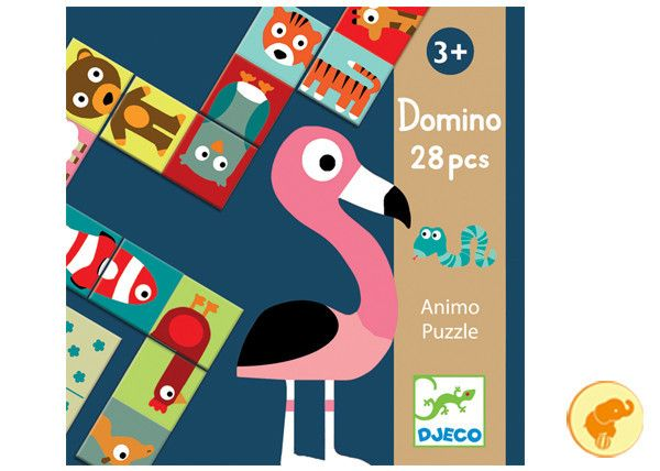 Gioco del domino in  versione puzzle. In cartone.  Dai 3 +.  Acquista qui: http://www.zazieshop.it/collections/giocattoli/products/animo-puzzle