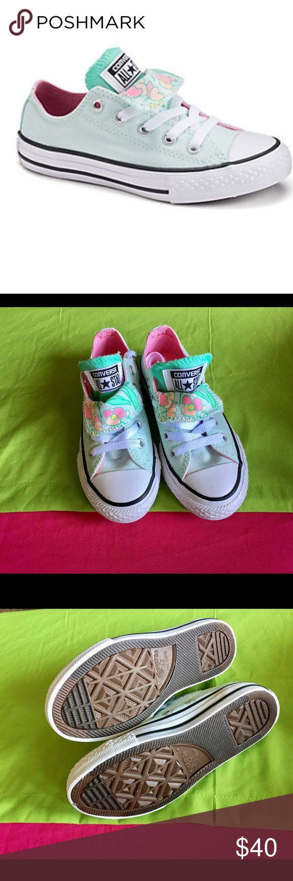 "All-Star Converse for girls!! Converse Chuck Taylor All-Star floral double tongue shoes, size girls 11, color mint, pink, orange, ""brand new"" Converse Shoes Sneakers"