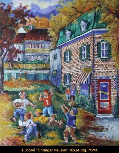 Original oil on canvas painting by Lise Labbé #labbe #art #artnaif #fineart #figurativeart #kidscharacters #fall #playinginleafes #canadianartist #quebecartist #originalpainting #oilpainting #balcondart #multiartltee
