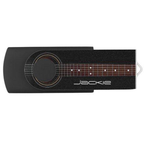 Black Acoustic Guitar Music USB Flash Drive