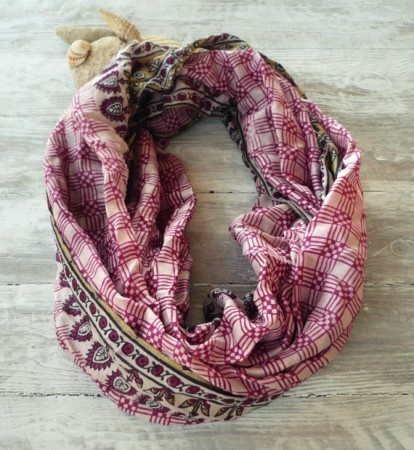 Magenta Grid Sari Scarf.  This beautiful infinity silk scarf is made from an upcycled vintage Sari.