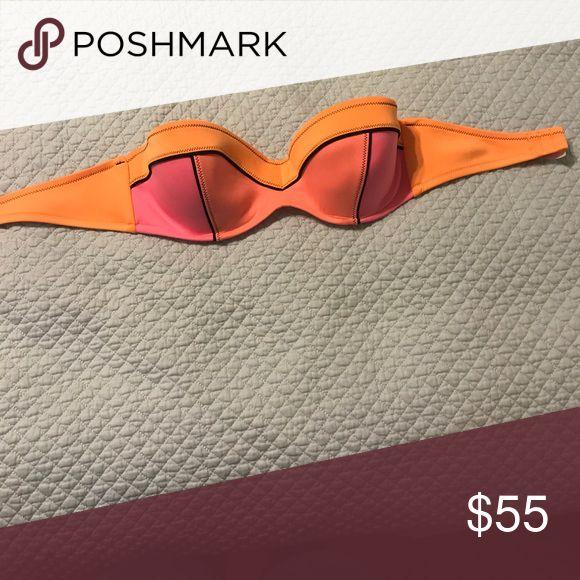 34 D pink and orange bandeau top Barely worn Victoria's Secret Swim Bikinis
