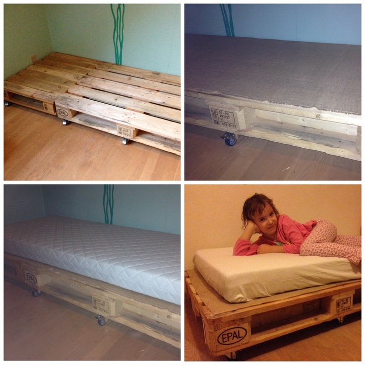 New beds for my kids , Home made and easy to make You need 2 pallets 1 and a 1/2 , and som plankes to hold it together .. 2 set of wheels ( 1set  is 2 alm and 2 with breaks ) somme hessian to protect the madras . And a madras .