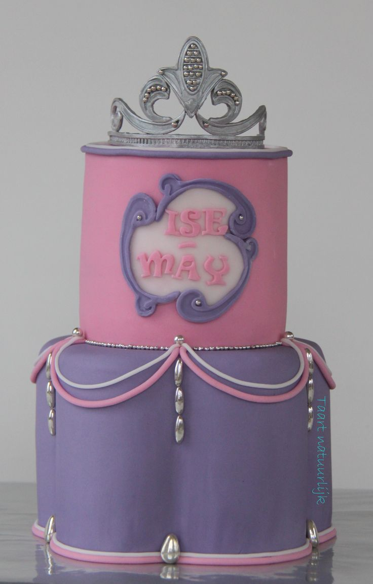 cake princess tiara pink purple prinses roze paars