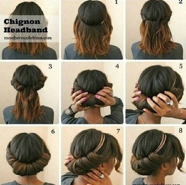 NATURAL Chignon headband hair style and other great hair tricks. Freaking love this style