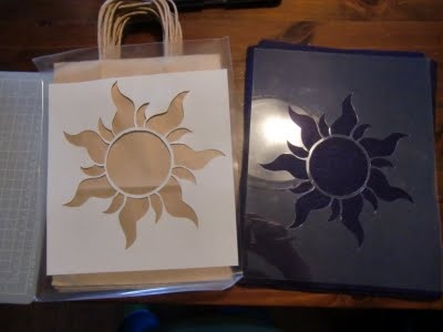Tangled party - stencil on bags