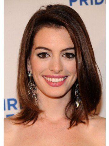 Anne Hathaway Brown Full Lace Medium Length Human Wigs