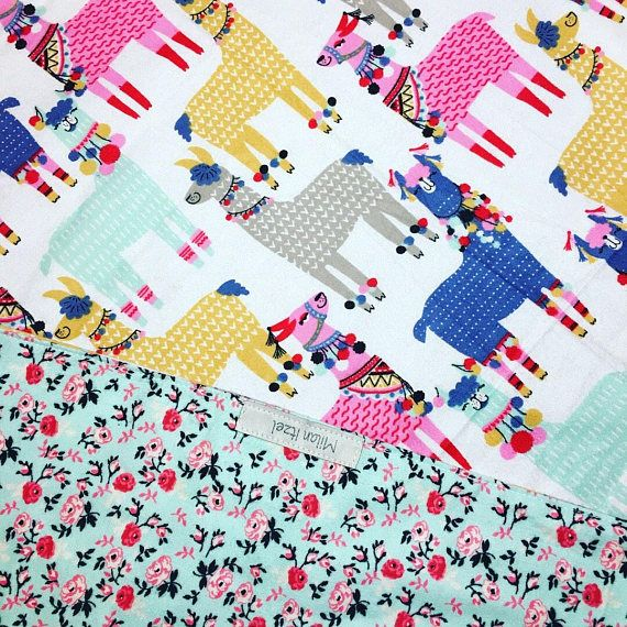 Blanket Llama alpaca blanket baby shower flannel nursery baby