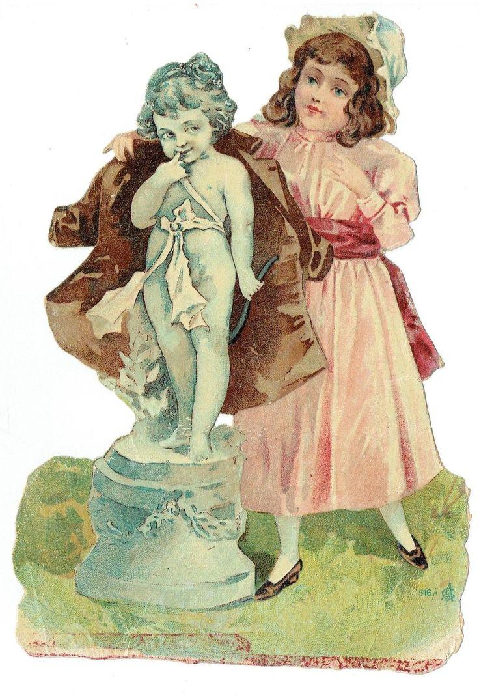 Un chromo - Découpis - Jeune fille et l'ange - 23 cm  -  fr.picclick.com