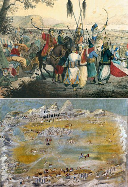 Θεόδωρος Κολοκοτρώνης | Η ΚΑΘΗΜΕΡΙΝΗ-Επάνω: Η καταστροφή του Δράμαλη στην Κόρινθο. Έργο των Αλεξ. Ησαΐα—Antonio Zona, επιζωγραφισμένη λιθογραφία, Βενετία 1839 Κάτω: «Τρίπολις». Πολιορκία και μάχες γύρω από αυτήν, ωογραφία σε ξύλο. Σκέψις Μακρυγιάννη, έργο Παναγιώτη Ζωγράφου, 1836 (Εθνικό Ιστορικό Μουσείο/Συλλογή Χαρακτικών, Αθήνα).