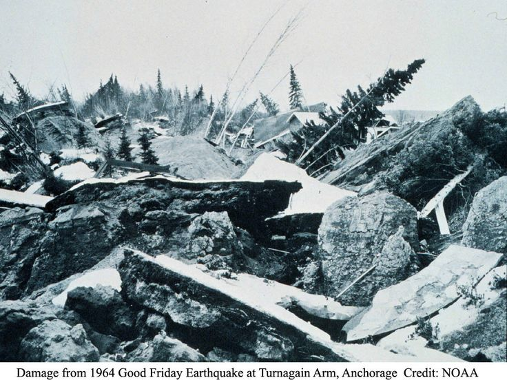 Damage from 1964 Good Friday Earthquake at Turnagain Arm, Anchorage