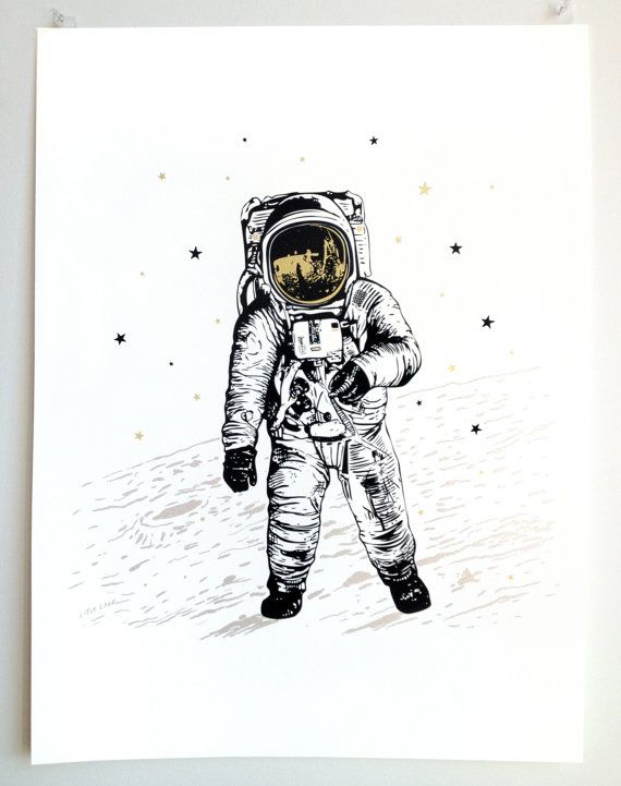 Astronaut Man on the Moon, Art Poster on paper, handprinted silkscreen, modern graphic metallic gold silver ink, space science stars luna