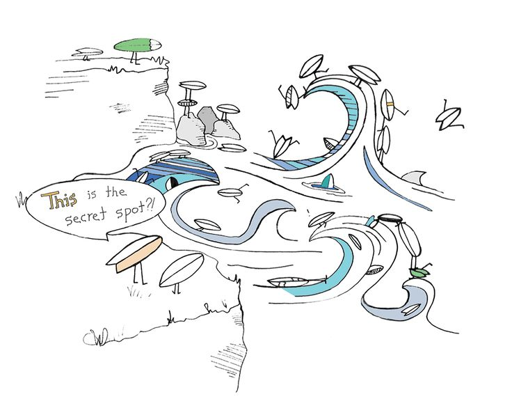 Sea Legs Cartoon: Secret Spot! Follow along on the adventures of Fin, just a fishtail surfboard enjoying life with his mates.