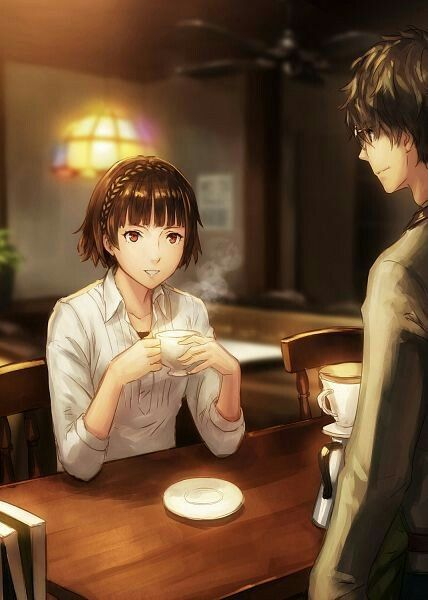 Protag makes Makoto a cup of joe :3