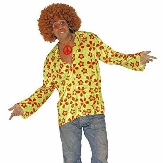 Hippie verkleed overhemd groen/oranje voor heren. Het groene shirt heeft een all-over print van oranje bloemen, iets uitlopende mouwen en een knoopsluiting aan de voorzijde. Materiaal: 100% polyester.