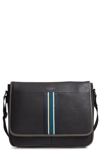 TED BAKER KINGCOL FAUX LEATHER MESSENGER BAG - BLACK.  tedbaker  bags   leather c9c18901b3a84