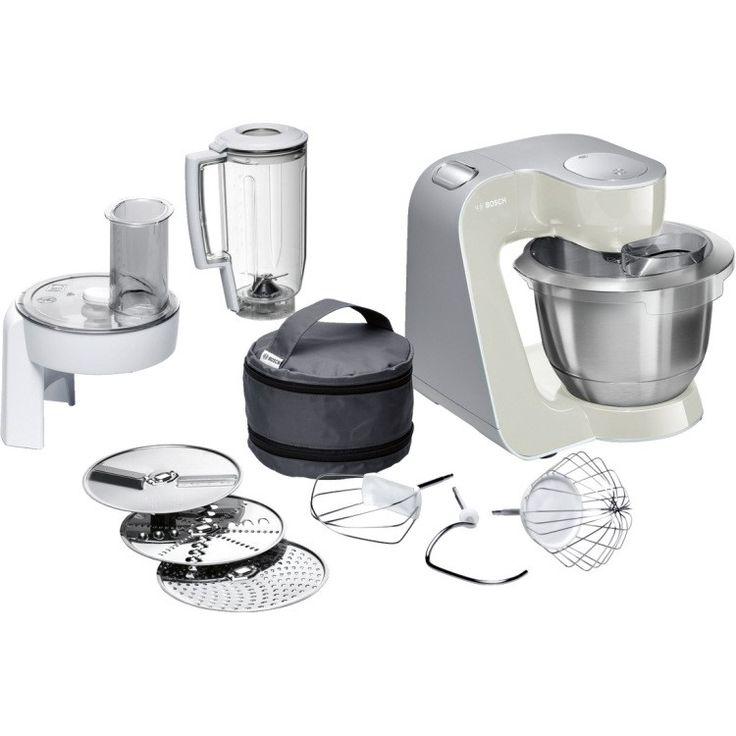 Bosch MUM58L20 universele keukenmachine  De krachtige keukenmachine in MG / zilver voor veelzijdig gebruik tijdens het koken en bakken.  De sterke keukenmachine voor veelvuldig koken en bakken. Bijzonder eenvoudige verwerking van zelfs grote hoeveelheden tot 1 kg bloem plus ingrediënten dankzij de krachtige motor met 1000 watt vermogen.  Deeg wordt perfect gemengd in de grote roestvrijstalen mengkom (39 l volume) met speciale innerlijke vorm en dankzij 3D PlanetaryMixing - tot 27 kg beslag…