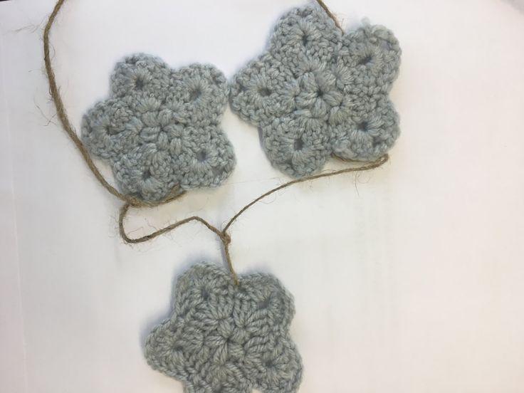 Virka crochet christmas star garland - 90 cm by VirkaStore on Etsy
