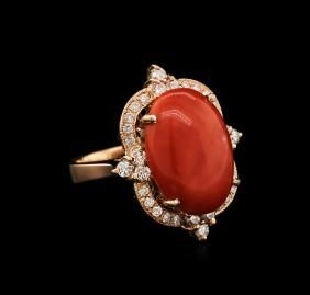 14KT Rose Gold 7.57ct Pink Coral a diamantový prsten: Lot 0403