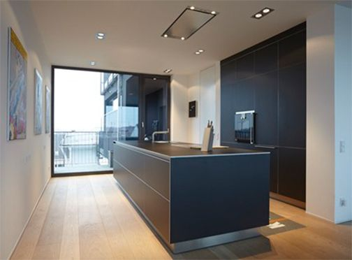 This b3 installation in gray aluminum was done by bulthaup Ramsauer in Munich, Germany. #bulthaup, #kitchens
