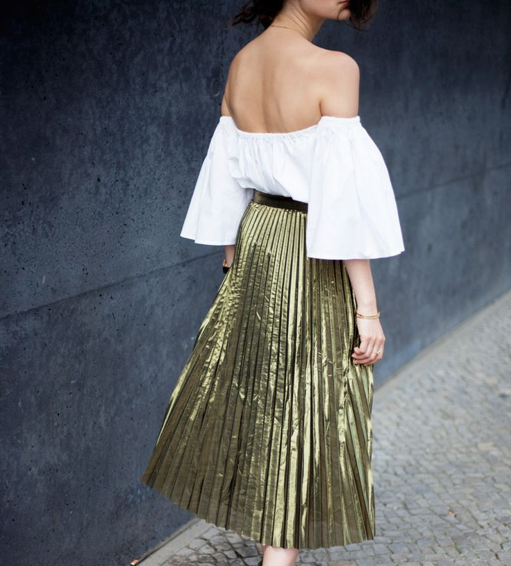 TheSLCTD.com | Gold pleated skirt | Off-shoulder top