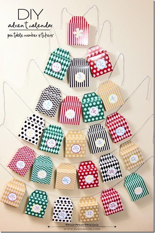 DIY Advent Calendar and Printable Number Stickers box Christmas tree