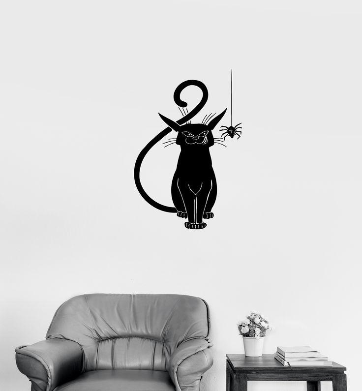 Wall Decal Evil Cat Black Spider Horror Scary Vinyl Sticker (ed668)