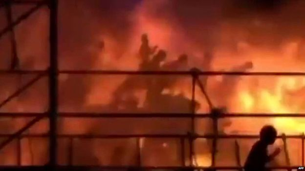 Coloured powder sprayed from the water park stage onto the audience near Taipei suddenly ignited killing several