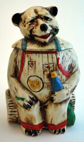 """Hillbilly Bear"""" (1940) from the Nelson McCoy Pottery Co. I also love weird cookie jars."""