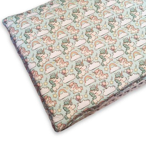 Wyjątkowy komplet pościeli dziecięcej, kołderka + poduszka ze wzoremtęczowych kucyków.