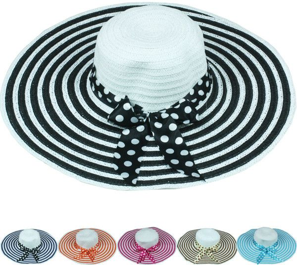 multicolor striped women's summer hat with polka dot bow Case of 72