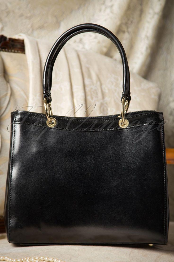 60s Sadie Classy Black Leather Handbag