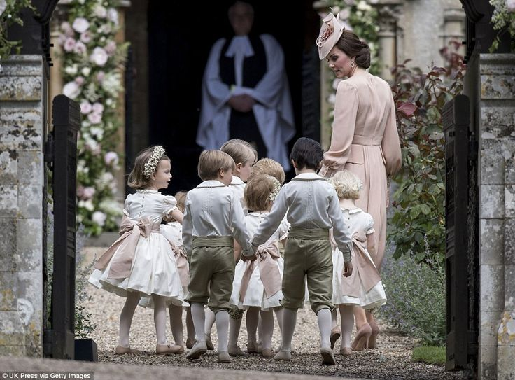 Kate escorted the children into the church ahead of her little sister's arrival. Pippa arr...
