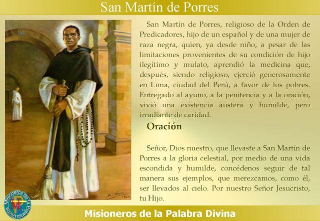 MISIONEROS DE LA PALABRA DIVINA: SANTORAL - SAN MARTIN DE PORRES