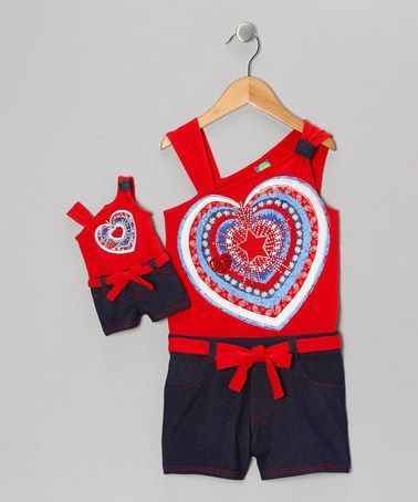 Take a look at this Red & Navy Heart Romper & Doll Outfit - Toddler & Girls by Dollie & Me on #zulily today!