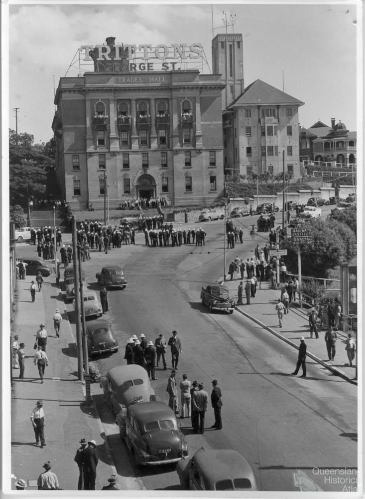 Trades Hall, George Street, Brisbane, ca early1950s - you can see the statue that was once on the left side (as shown in the other photo I have pinned, dated 1928), has been moved to its present location of Anzac Square