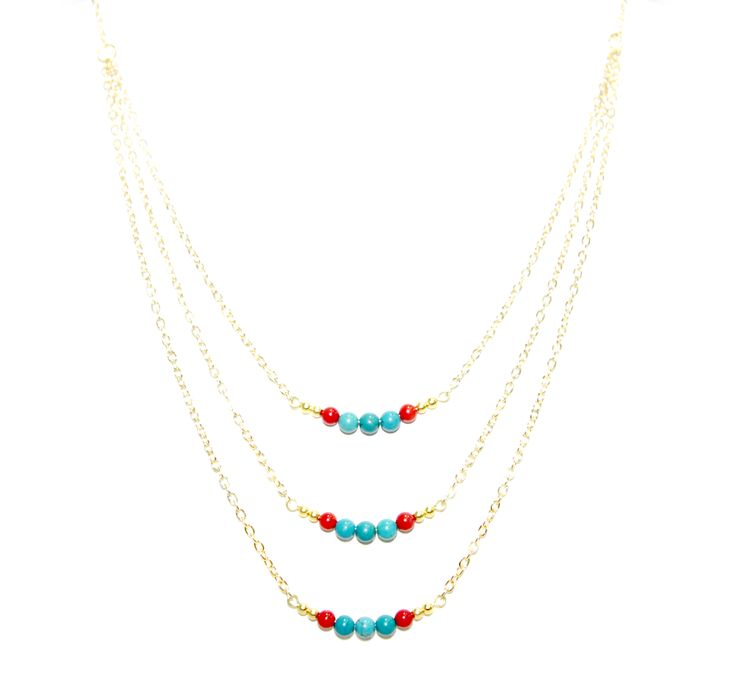 ValentinaNecklace - Turquoise & Coral -  The ultimate statement piece in our debut collection, our Valentina necklace is your instant route to sure-fire sophistication and glamour. Add to an open neckline or cocktail dress, shimmer through your evening and bask in its alluring power.  Made using our sparkling 14 carat gold-plated fine chain and accentuated with turquoise and coral elements. Finished with a lobster clasp fastening, an extension chain and a HOLLYGALORE charm. £54.99