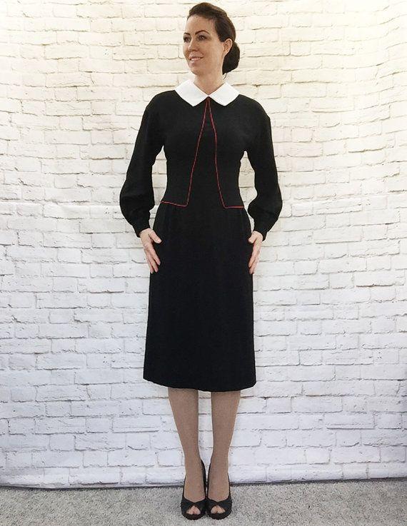 Vintage 80s doet 40s Art Deco jurk zwart witte kraag Red