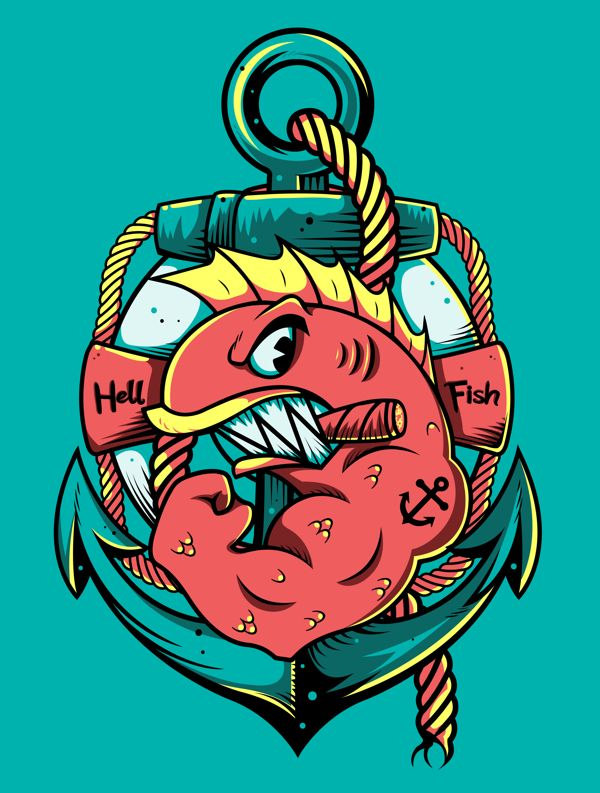 HellFish by Festo Illustrations, via Behance