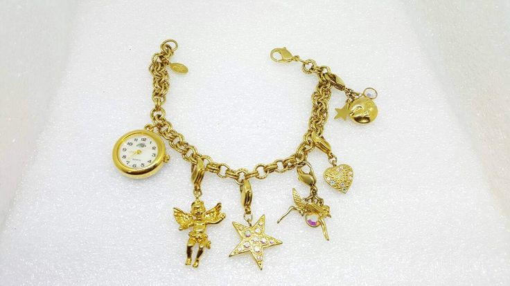 Kirks Folly Charms and Watch Quartz Ladies Watch Angels Stars Fantasy Gold tone Working Wrist watch #jewellery #discount