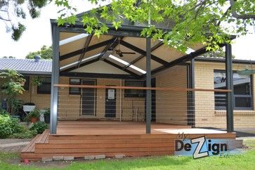 My Dezign Exteriors  - Adding a whole new dimension to this Hope Valley Home is this Colorbond Verandah and Hardwood Deck - The combination of #Colorbond Monument frame and posts with the Classic Cream High Gloss roof, blends perfectly with the existing cream bricks and dark grey windows. To ensure the complete leisure package is Merbau Hardwood Deck, LED downlights, Fan and Comfortline outdoor heater