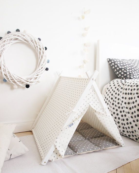 Dog teepee grey polka dot bedding by DogAndTeepee on Etsy