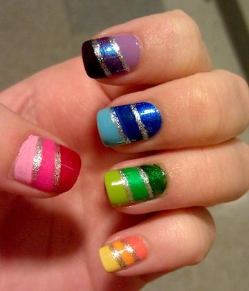 gradient rainbow nails